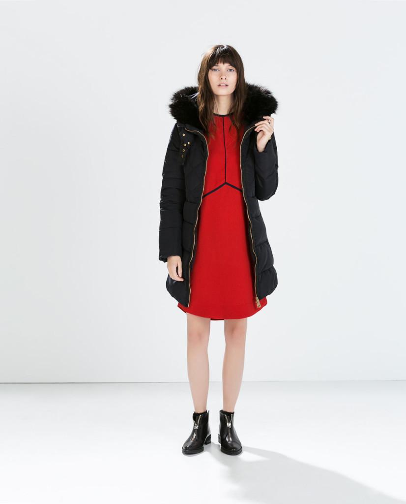 Zimní kabát ZARA. Zdroj: zara.com